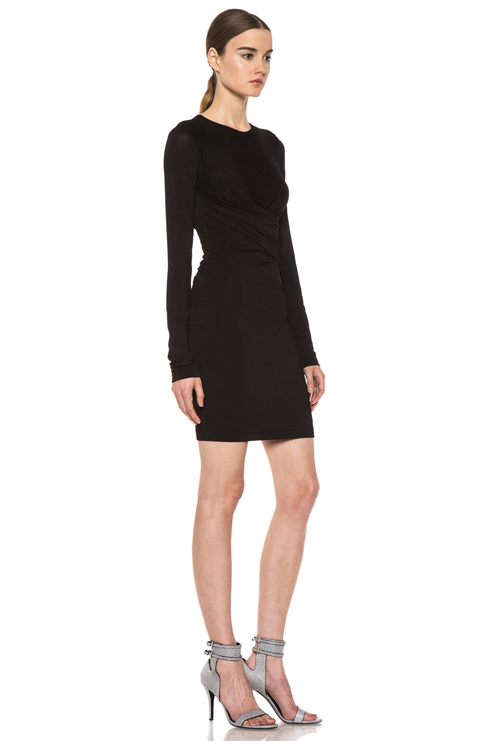 Image 3 of T by Alexander Wang Pique Mesh Long Sleeve Viscose-Blend Twist Dress in Black