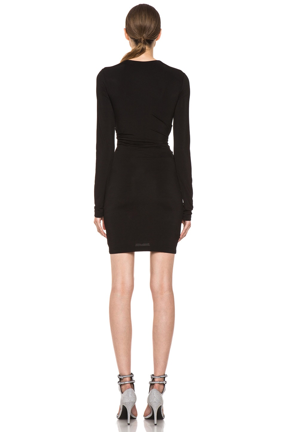 Image 4 of T by Alexander Wang Pique Mesh Long Sleeve Viscose-Blend Twist Dress in Black