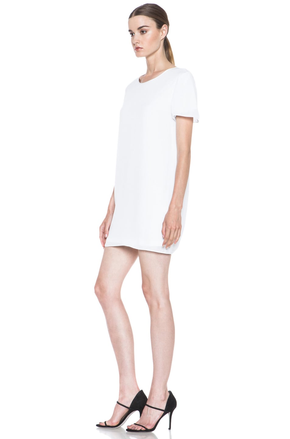 Image 2 of T by Alexander Wang Silk Georgette Over Jersey Dress in White