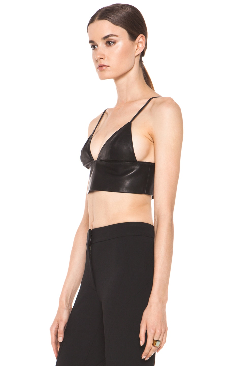 Image 2 of T by Alexander Wang Leather Triangle Bralette in Black