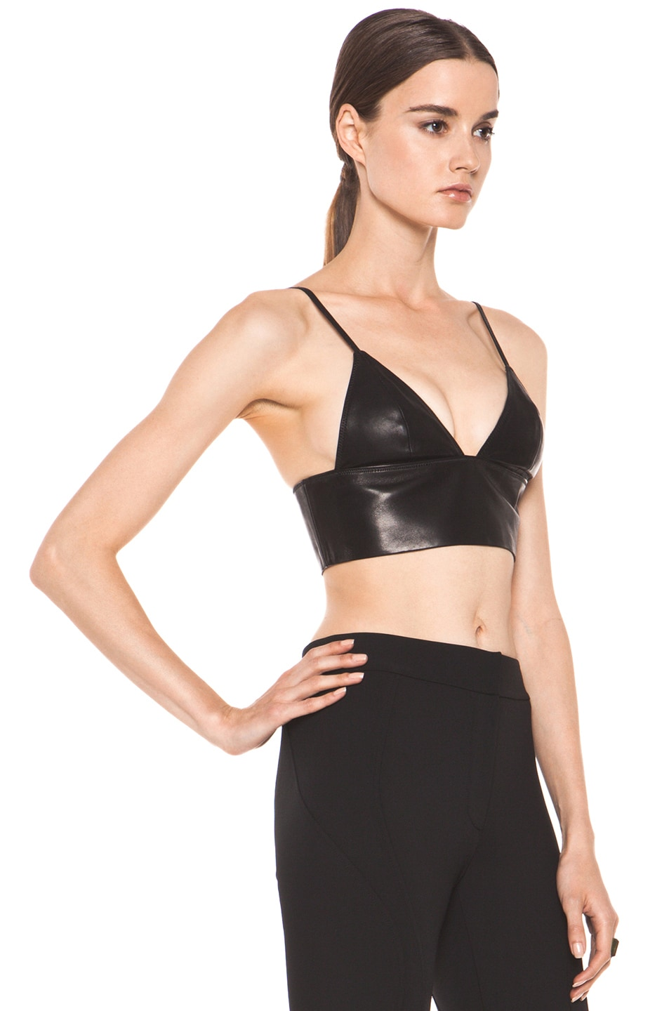 Image 3 of T by Alexander Wang Leather Triangle Bralette in Black