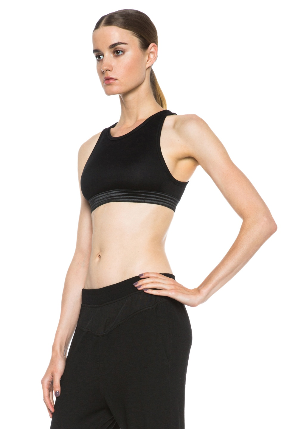 Image 2 of T by Alexander Wang Jersey Sports Bra in Black