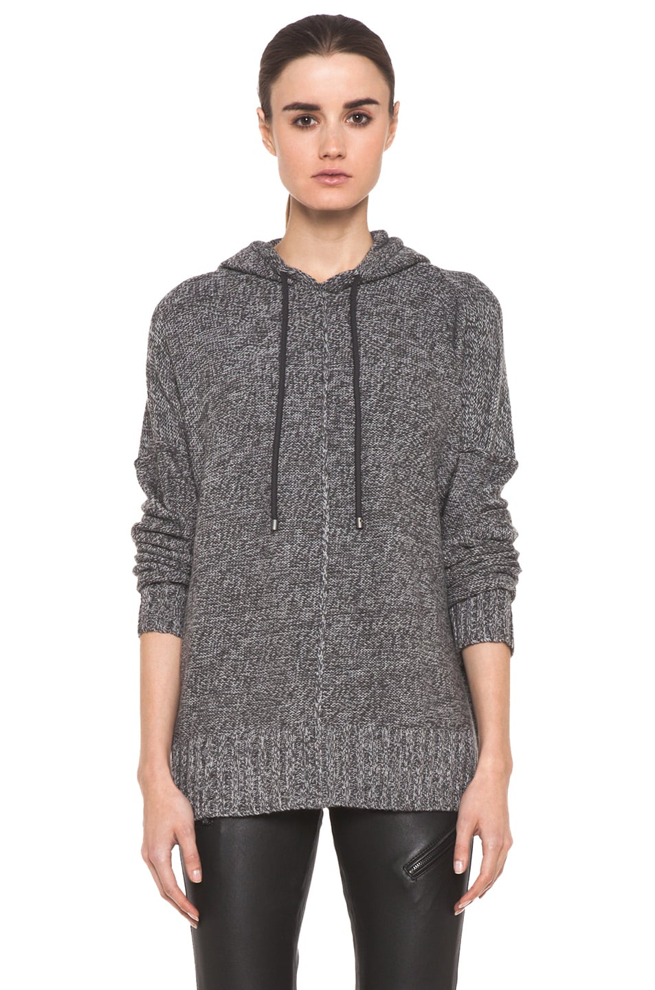 Image 1 of T by Alexander Wang Wool Boxy Knit Hoodie in Heather Grey