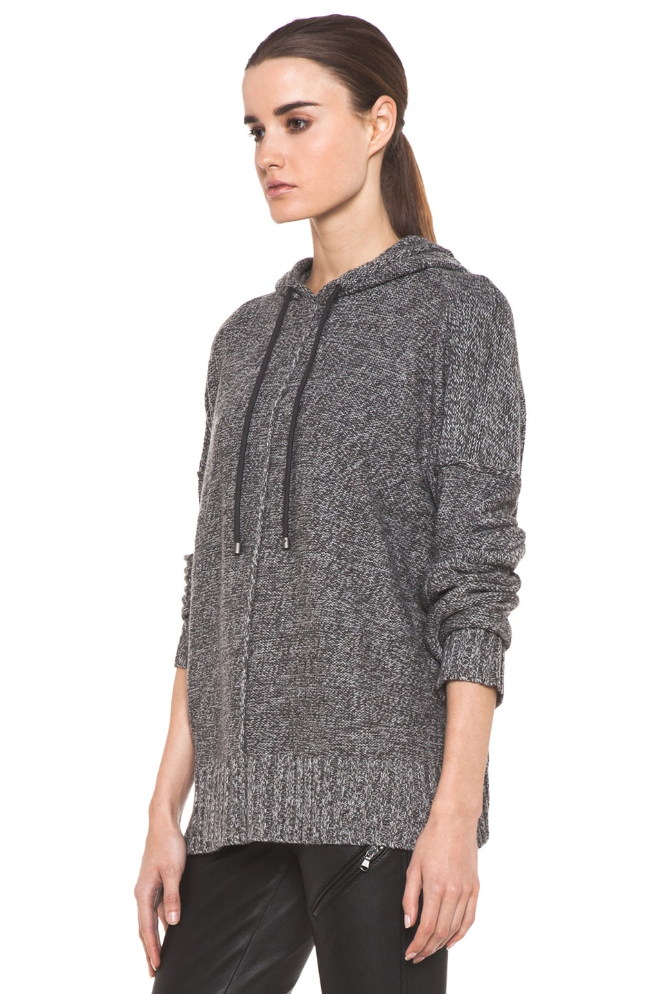 Image 2 of T by Alexander Wang Wool Boxy Knit Hoodie in Heather Grey