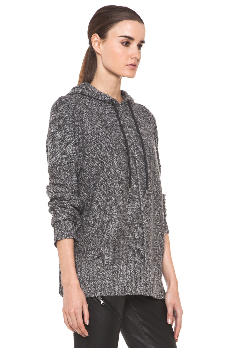 Image 3 of T by Alexander Wang Wool Boxy Knit Hoodie in Heather Grey