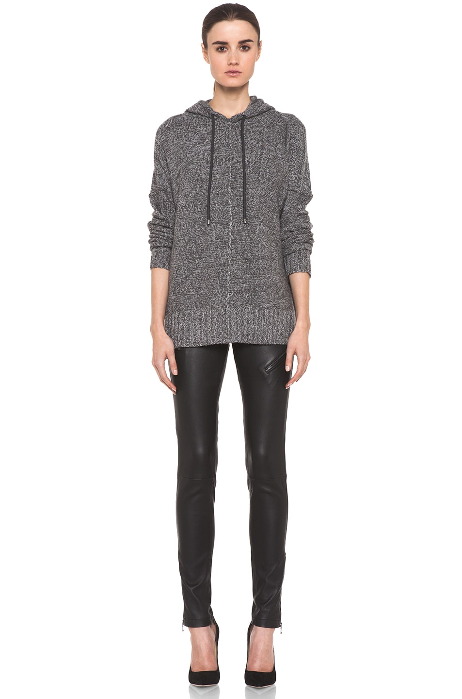Image 5 of T by Alexander Wang Wool Boxy Knit Hoodie in Heather Grey