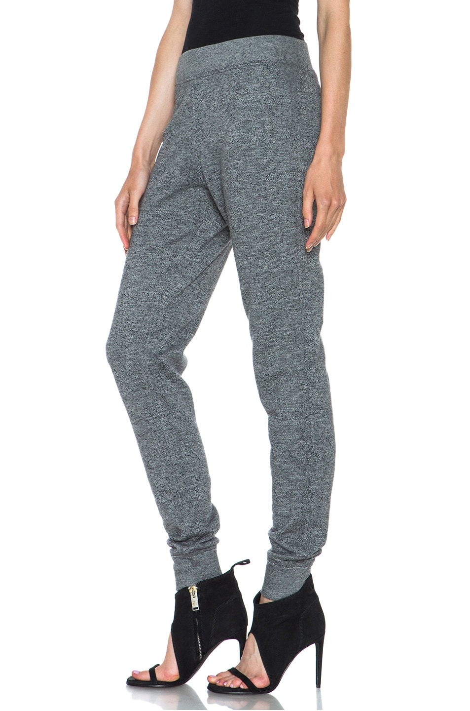 Image 2 of T by Alexander Wang Top Dyed Fleece Sweat Pant in Charcoal