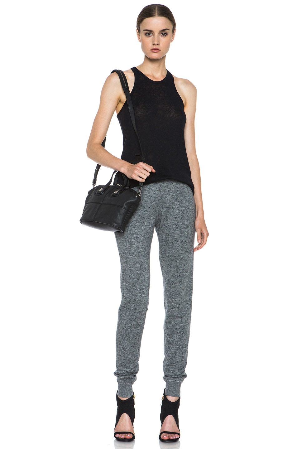 Image 5 of T by Alexander Wang Top Dyed Fleece Sweat Pant in Charcoal