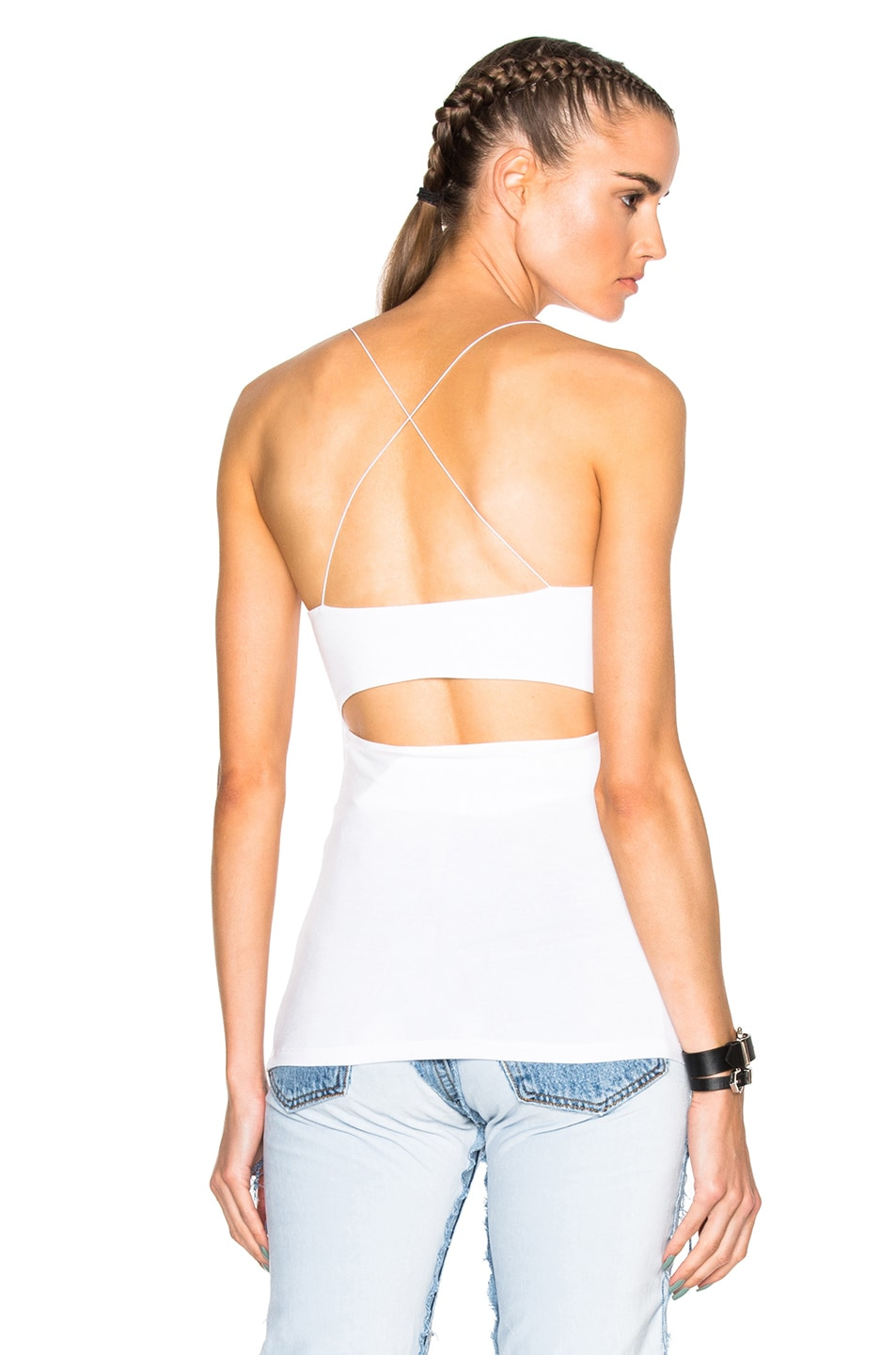 Image 1 of T by Alexander Wang Modal Spandex Strappy Cami Tank in White
