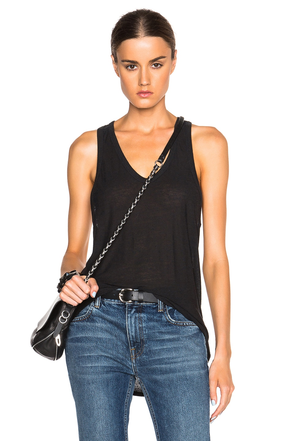 Image 1 of T by Alexander Wang Slub Classic Tank in Charcoal