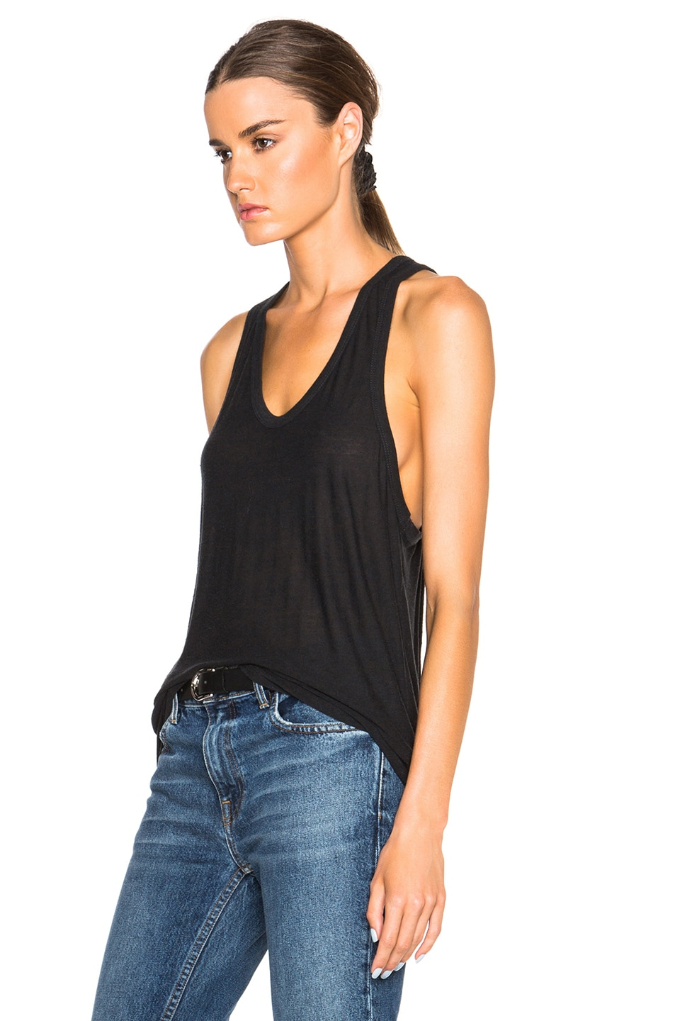 Image 2 of T by Alexander Wang Slub Classic Tank in Charcoal