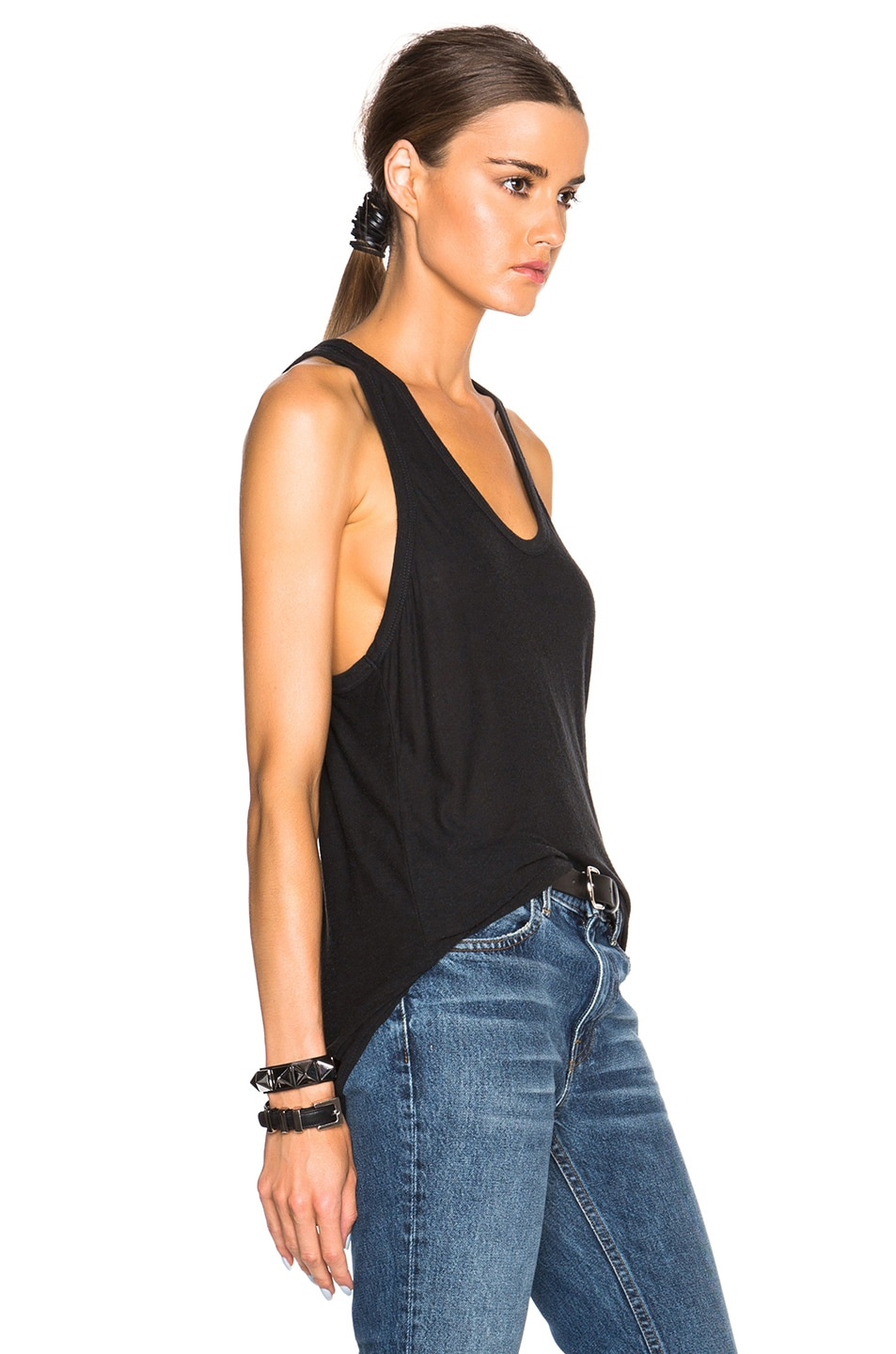 Image 3 of T by Alexander Wang Slub Classic Tank in Charcoal