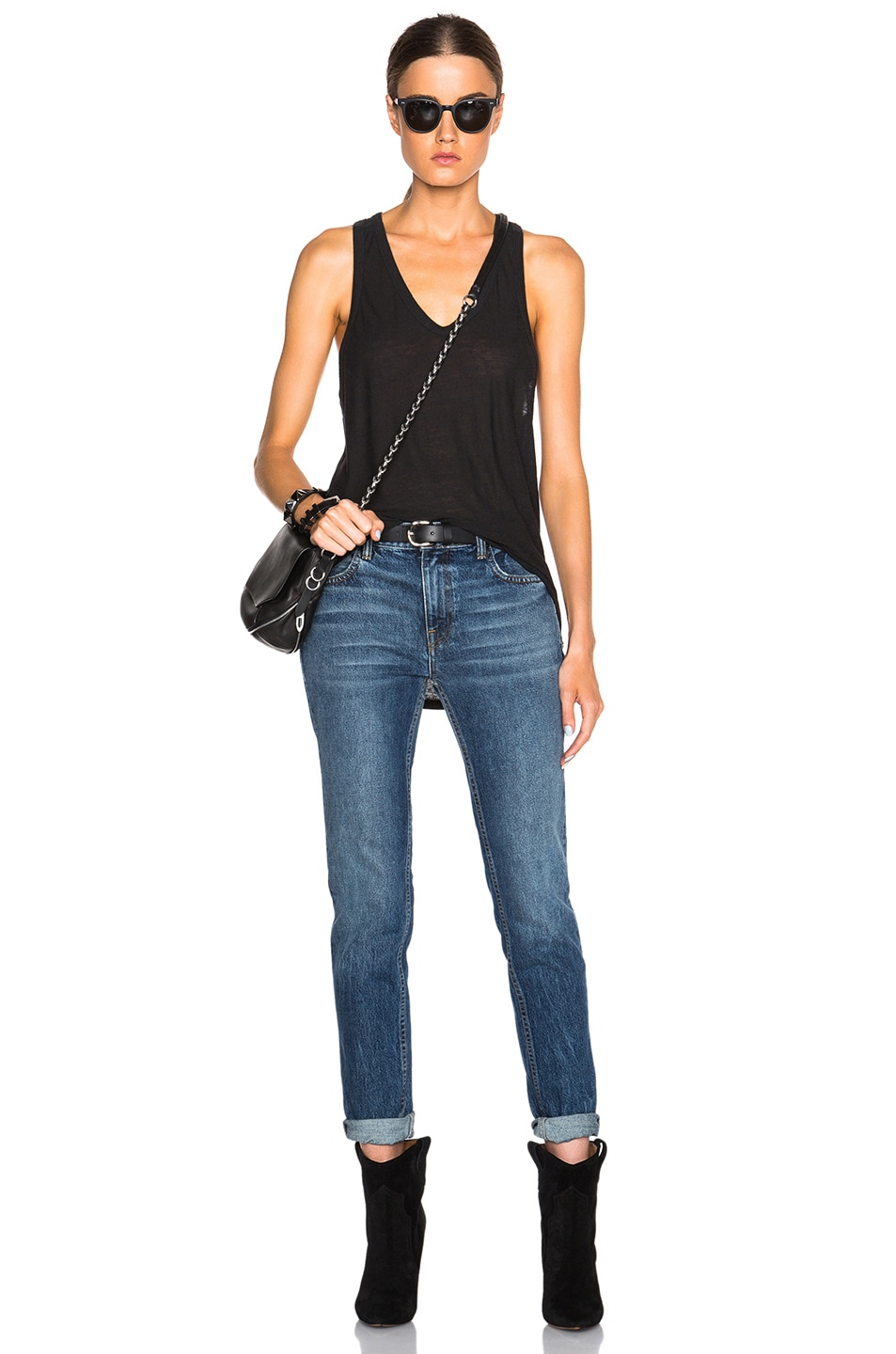 Image 5 of T by Alexander Wang Slub Classic Tank in Charcoal
