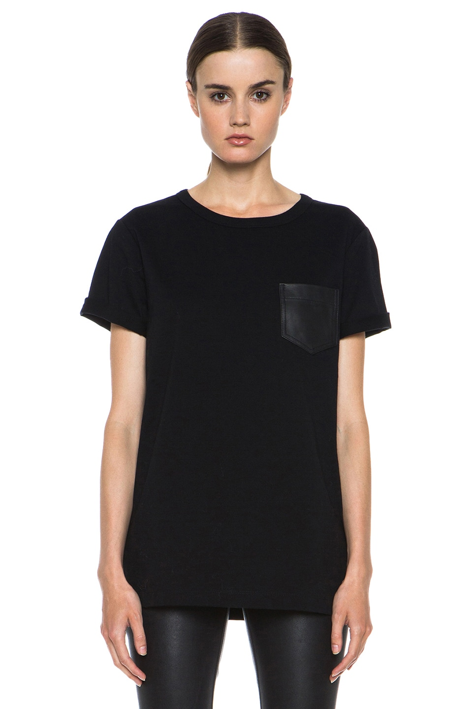 Image 1 of T by Alexander Wang Supima Jersey Tee with Leather Pocket in Black