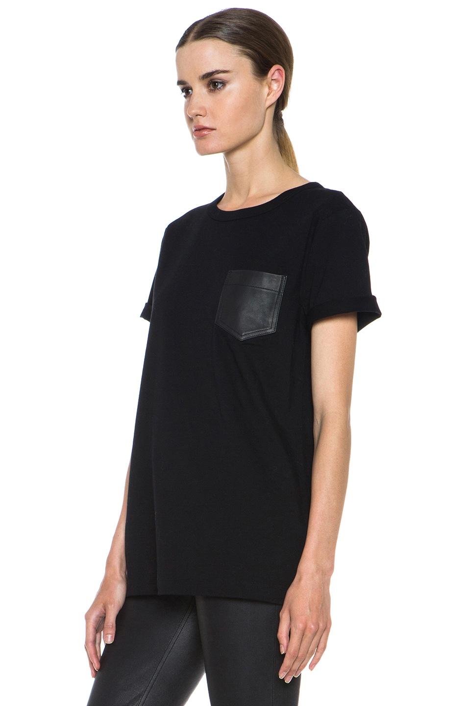 Image 2 of T by Alexander Wang Supima Jersey Tee with Leather Pocket in Black