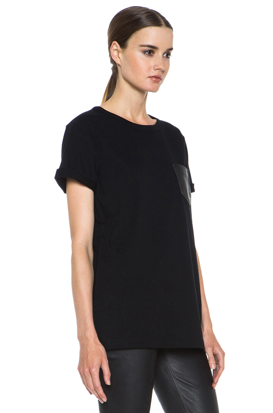 Image 3 of T by Alexander Wang Supima Jersey Tee with Leather Pocket in Black