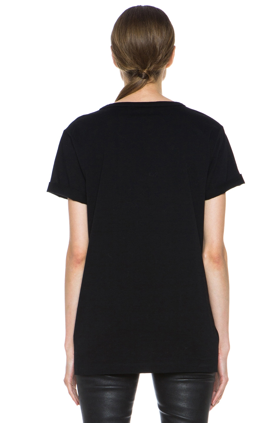 Image 4 of T by Alexander Wang Supima Jersey Tee with Leather Pocket in Black
