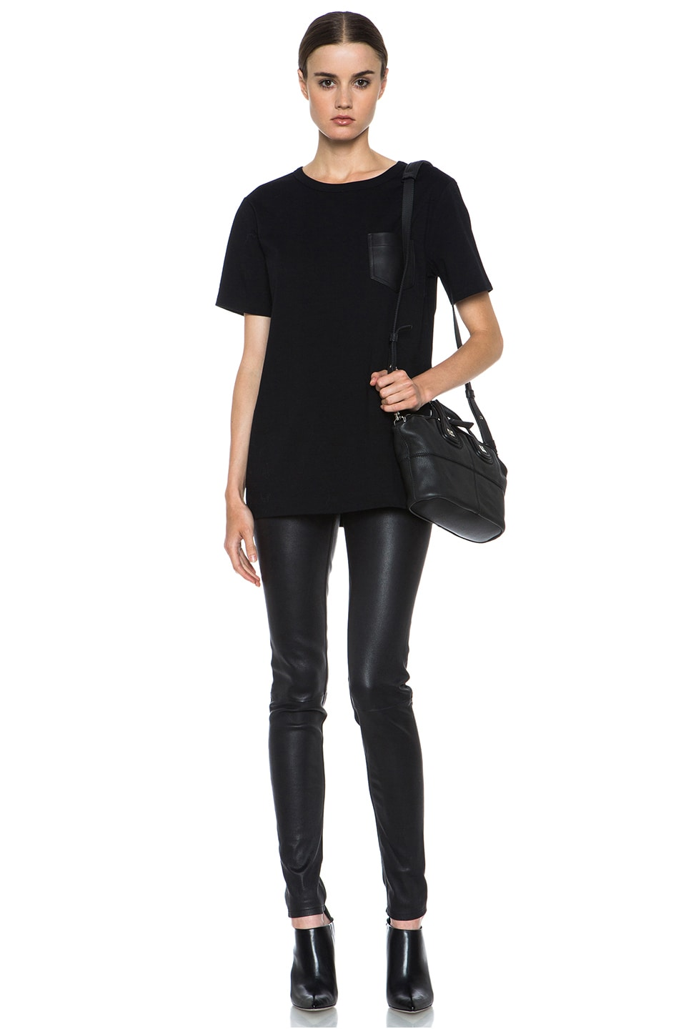 Image 5 of T by Alexander Wang Supima Jersey Tee with Leather Pocket in Black