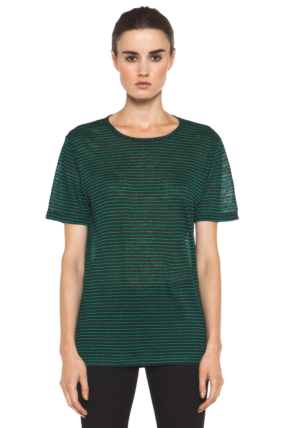 Image 2 of T by Alexander Wang Linen Stripe Tee in Ink & Vine