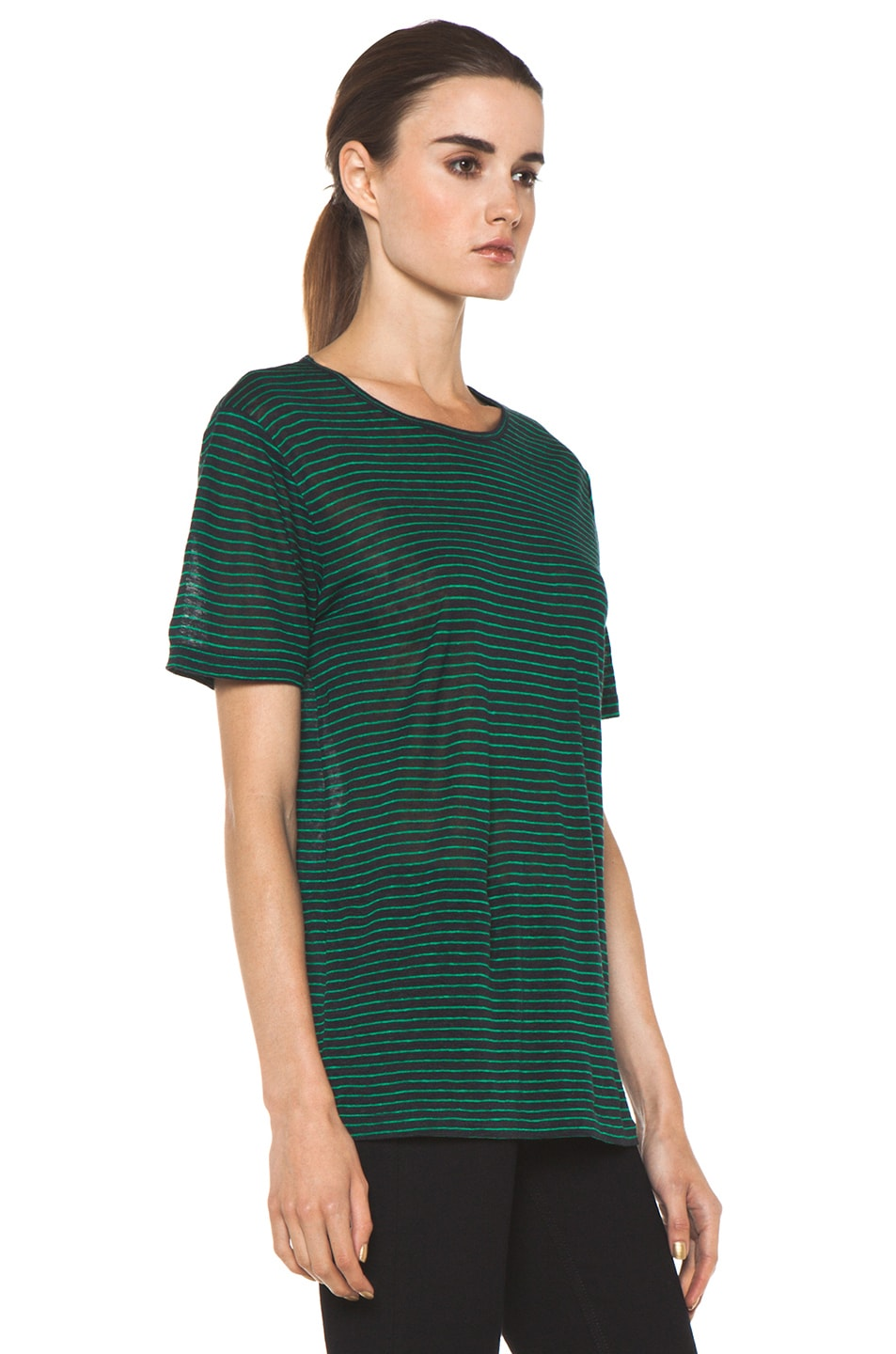 Image 4 of T by Alexander Wang Linen Stripe Tee in Ink & Vine
