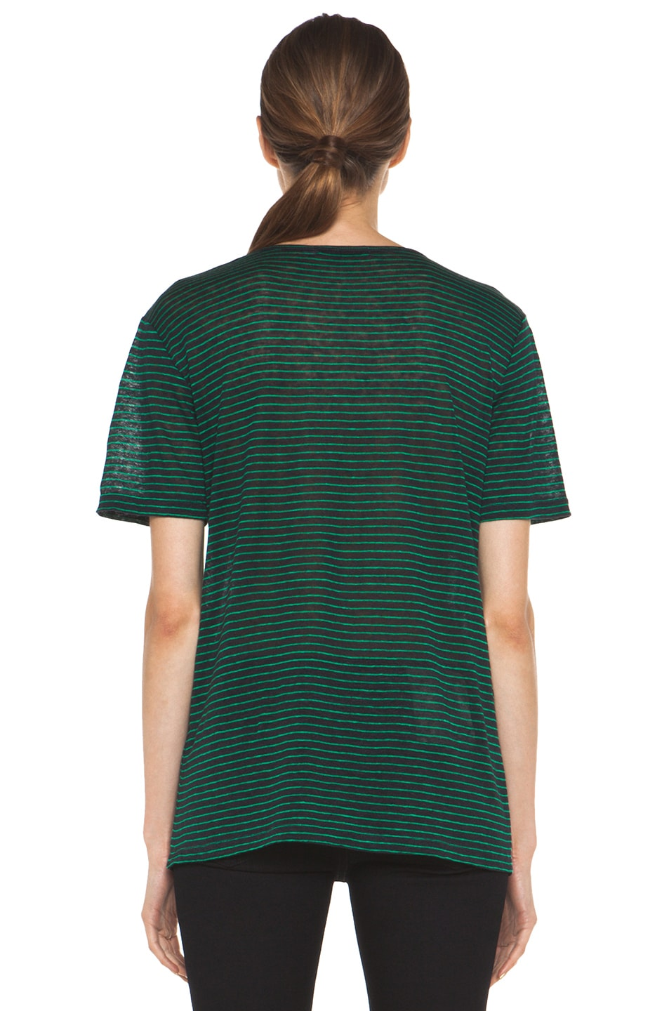 Image 5 of T by Alexander Wang Linen Stripe Tee in Ink & Vine
