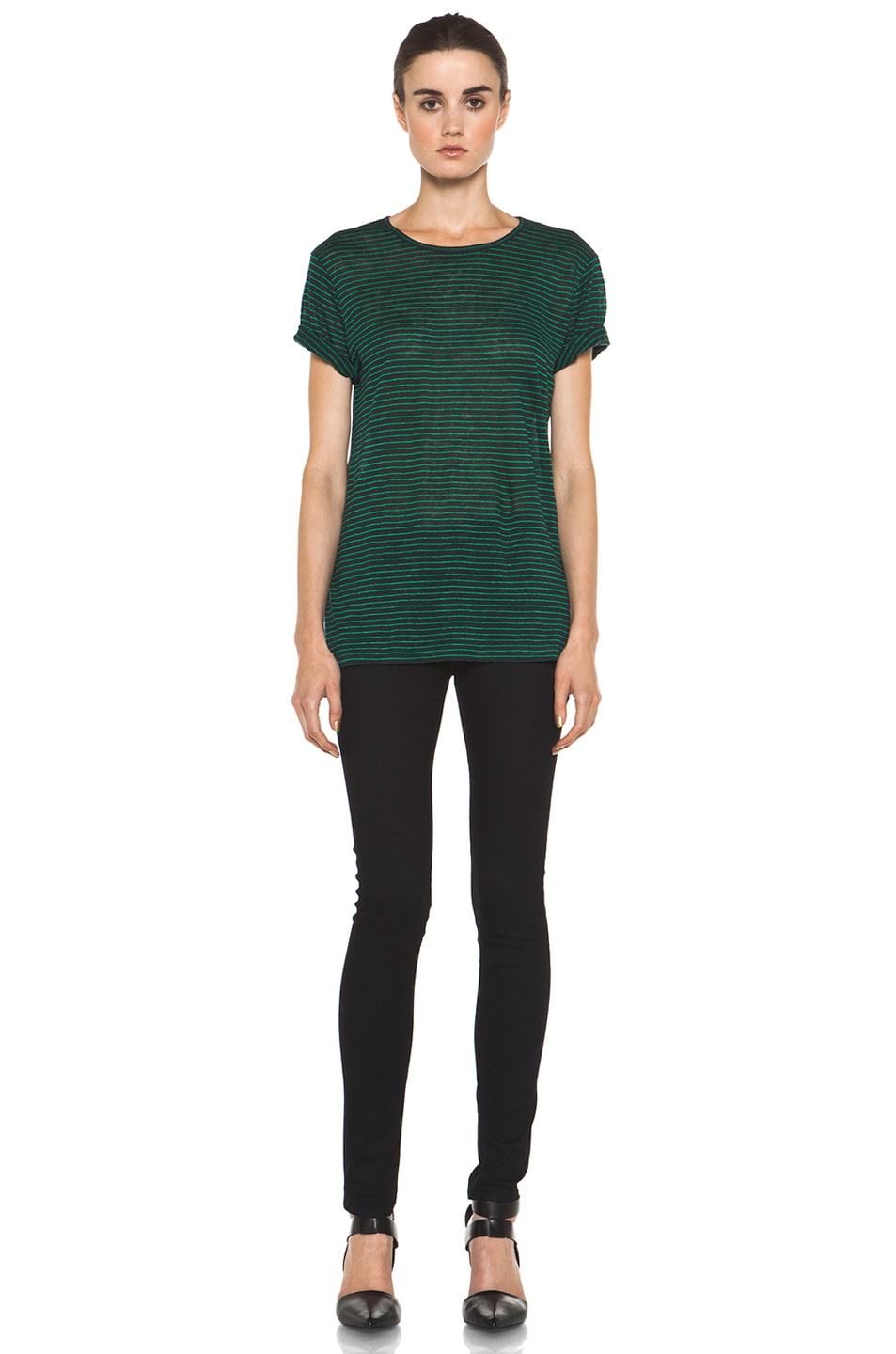 Image 6 of T by Alexander Wang Linen Stripe Tee in Ink & Vine