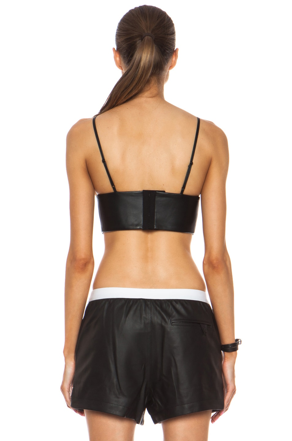 Image 4 of T by Alexander Wang Matte Lamb Triangle Bralette in Black