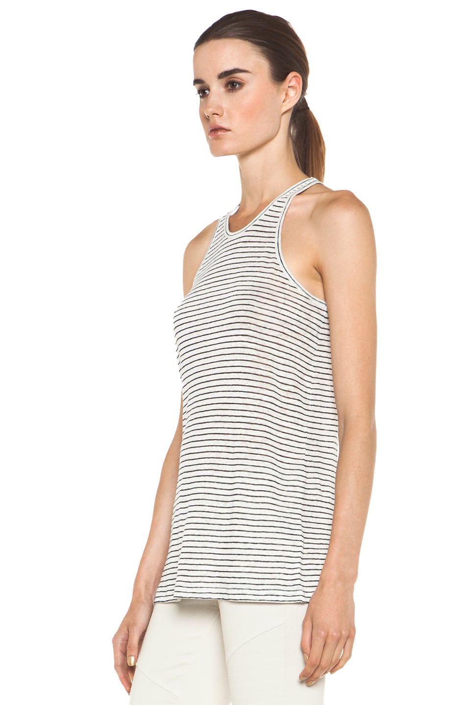 Image 2 of T by Alexander Wang Linen Stripe Tank in Chalk & Ink