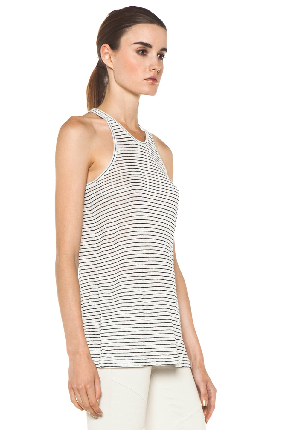 Image 3 of T by Alexander Wang Linen Stripe Tank in Chalk & Ink