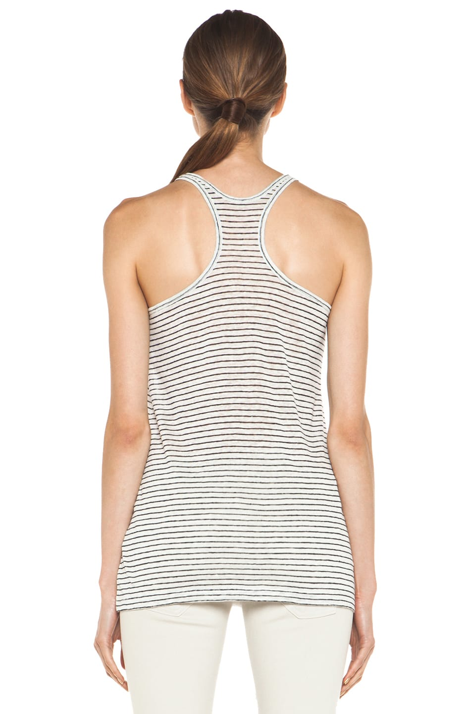 Image 4 of T by Alexander Wang Linen Stripe Tank in Chalk & Ink