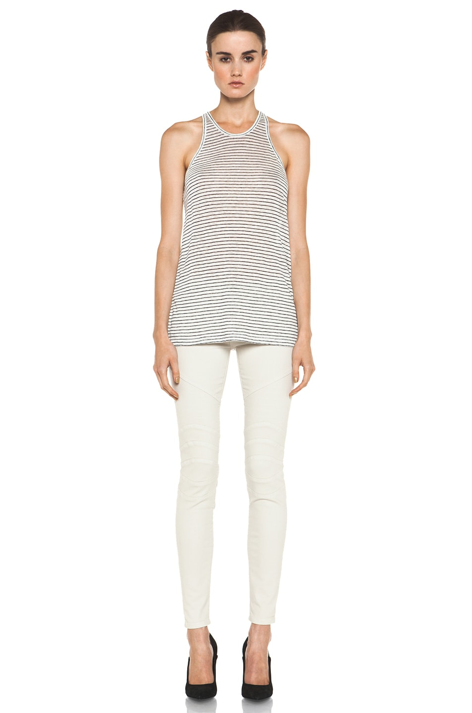 Image 5 of T by Alexander Wang Linen Stripe Tank in Chalk & Ink