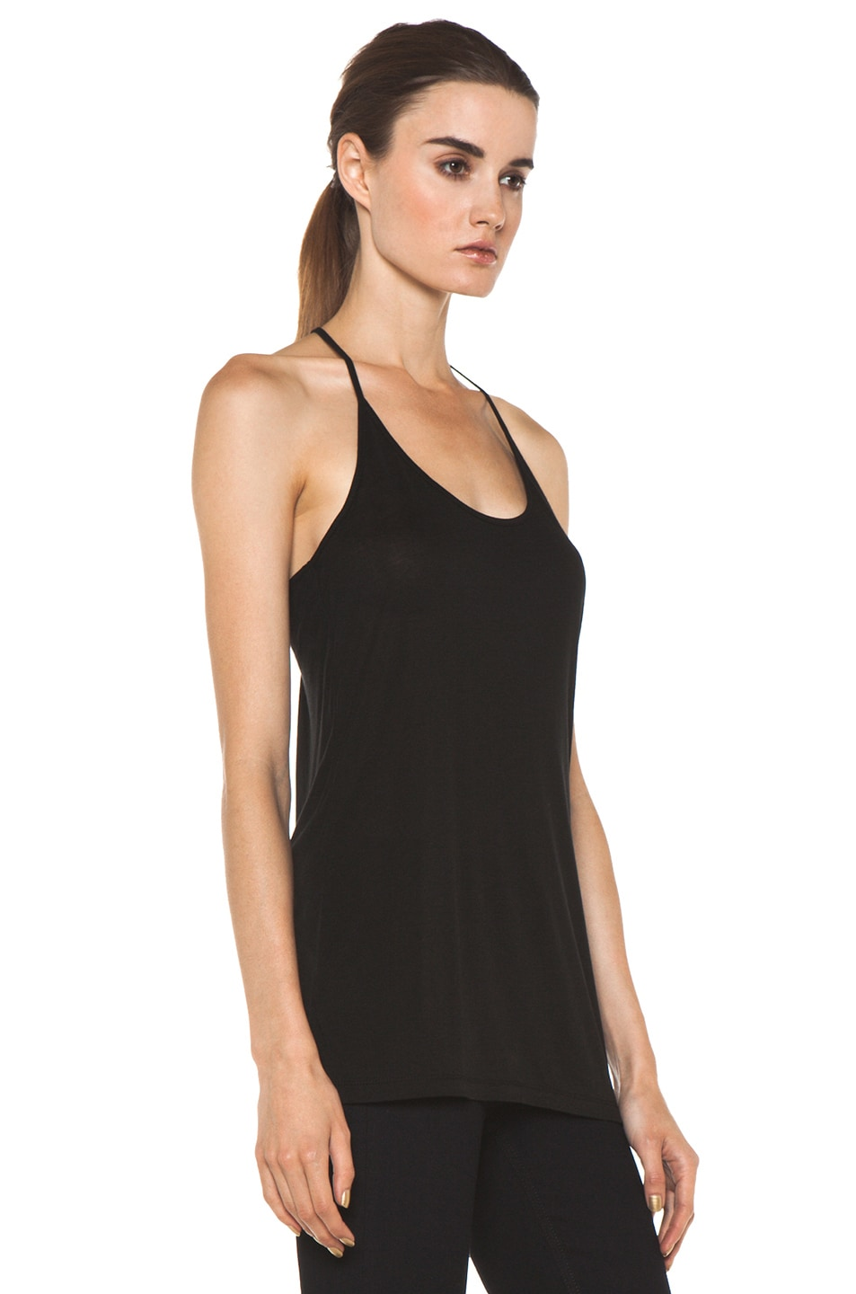 Image 3 of T by Alexander Wang Warm Jersey Skinny Strap Tank in Black