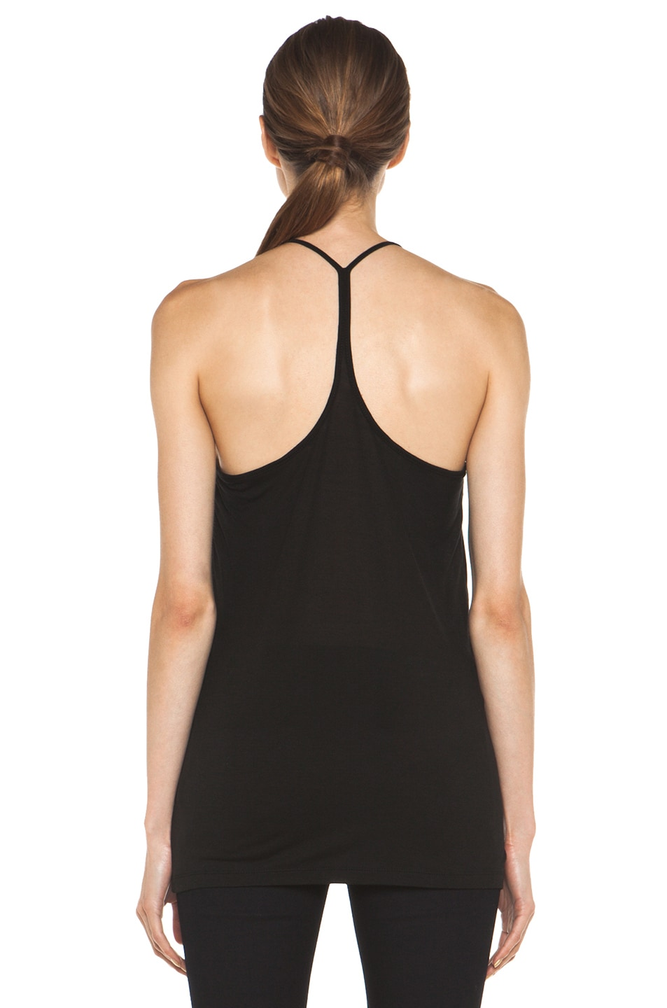 Image 4 of T by Alexander Wang Warm Jersey Skinny Strap Tank in Black