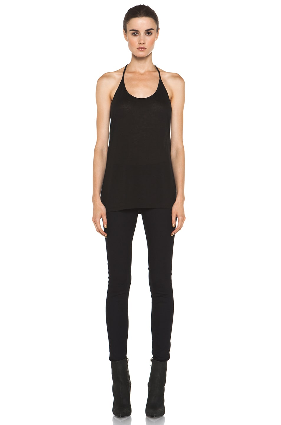 Image 5 of T by Alexander Wang Warm Jersey Skinny Strap Tank in Black