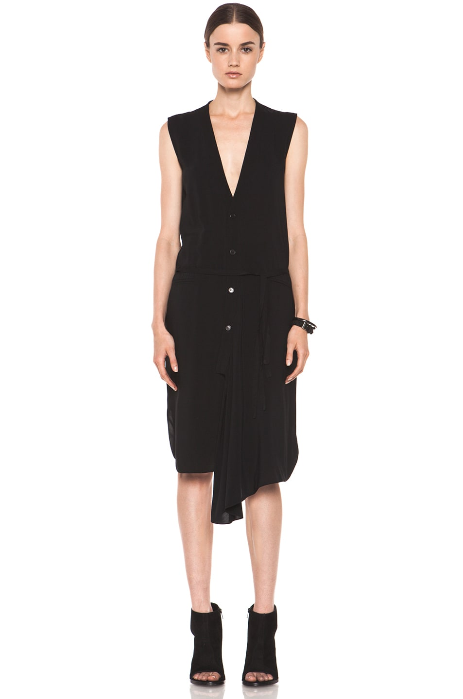 Image 1 of Tess Giberson Asymmetric Shirt Dress in Black