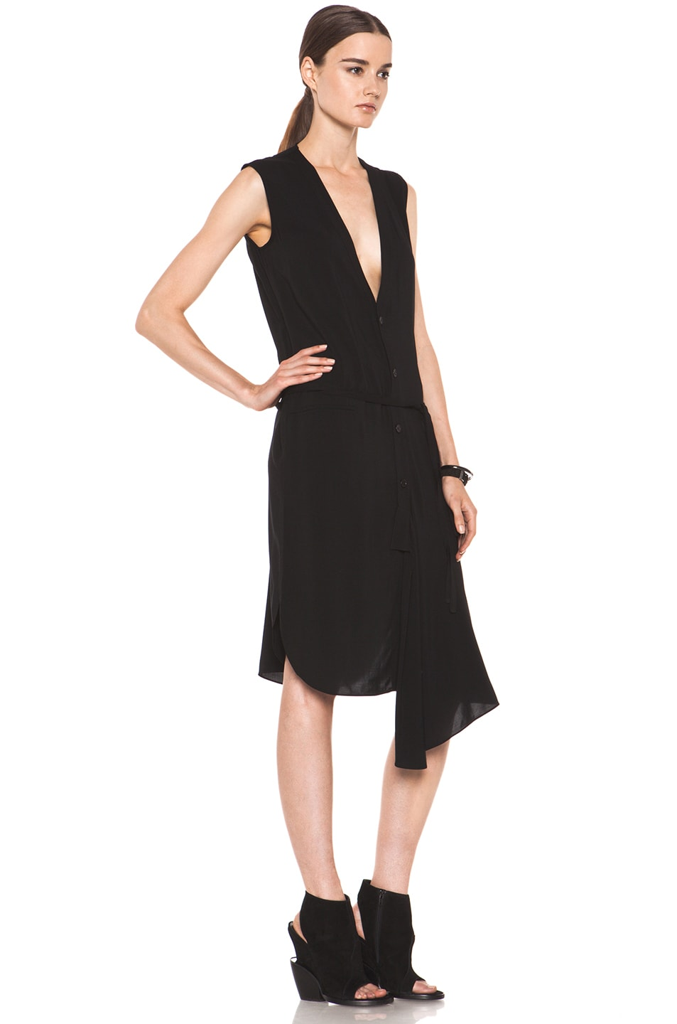 Image 3 of Tess Giberson Asymmetric Shirt Dress in Black