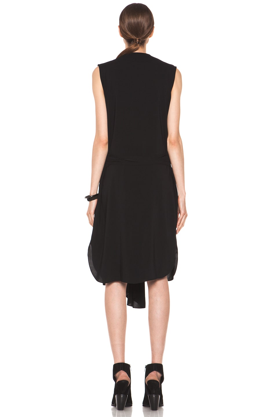 Image 4 of Tess Giberson Asymmetric Shirt Dress in Black