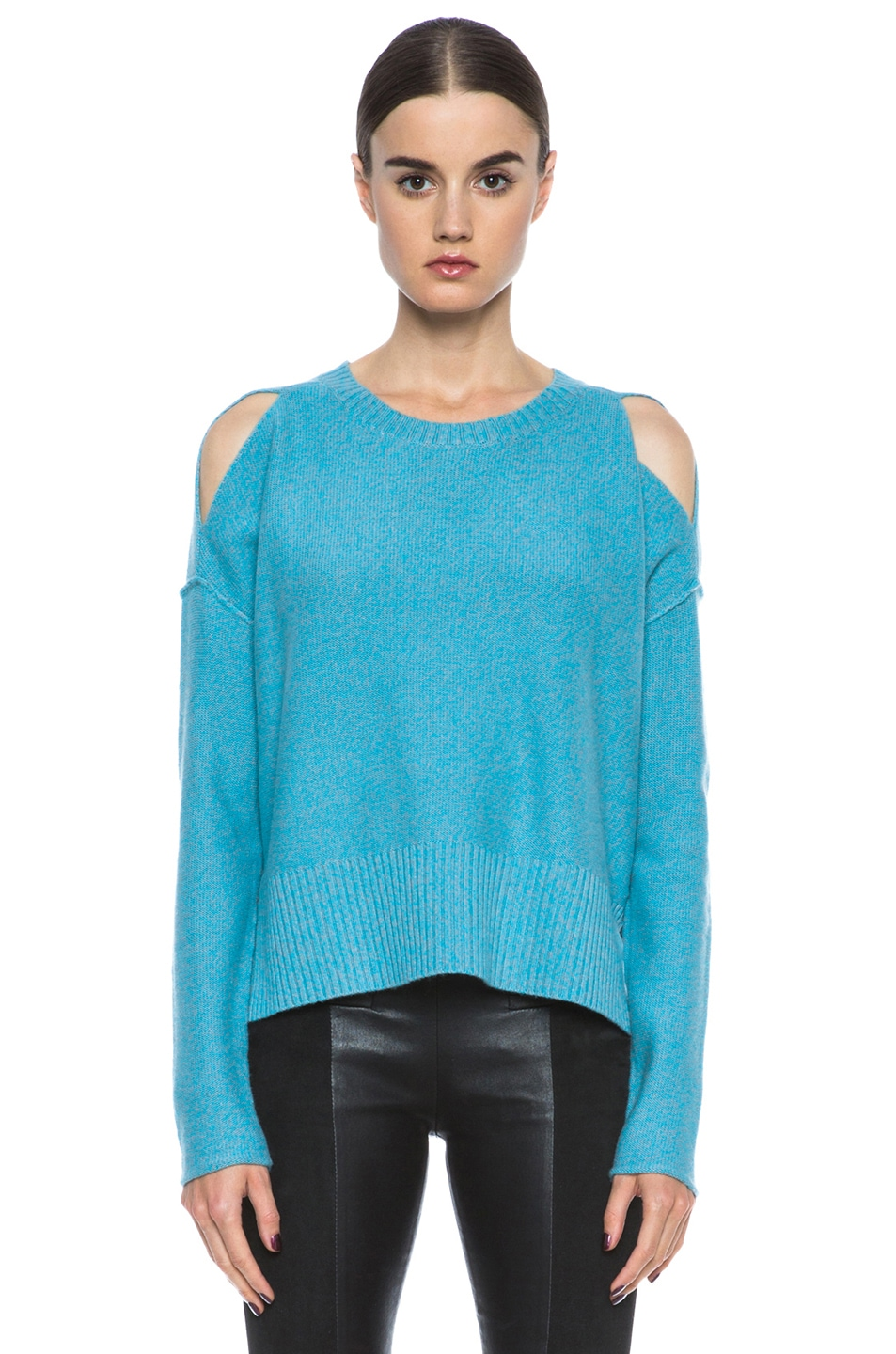 Image 1 of Tess Giberson Slouchy Split Hem Wool-Blend Sweater in Turqoise & Grey Melange