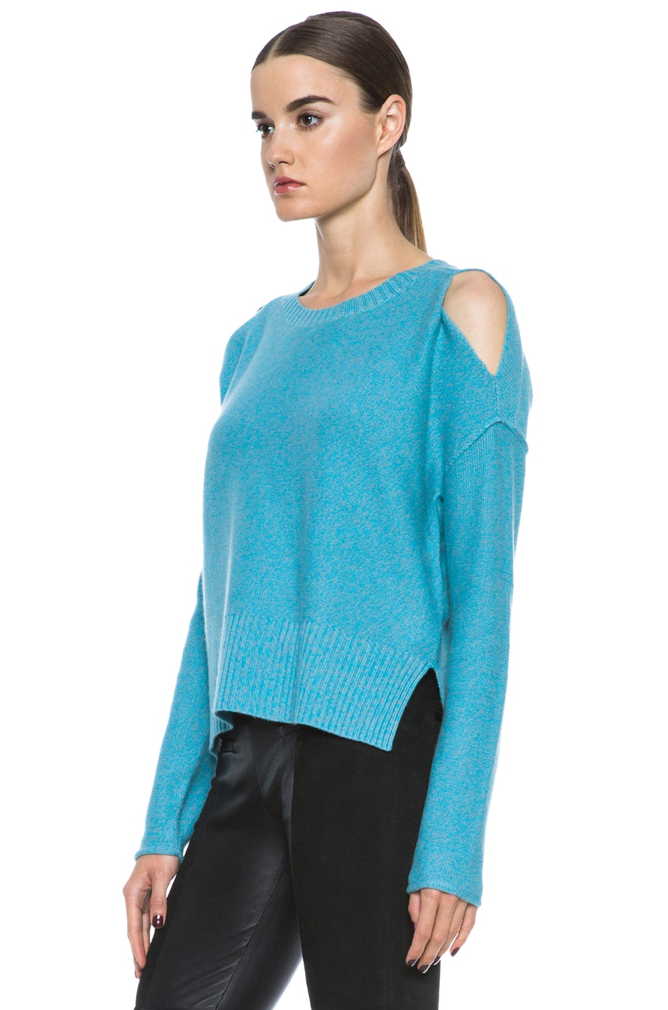 Image 2 of Tess Giberson Slouchy Split Hem Wool-Blend Sweater in Turqoise & Grey Melange