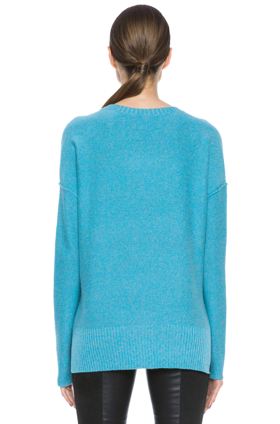 Image 4 of Tess Giberson Slouchy Split Hem Wool-Blend Sweater in Turqoise & Grey Melange