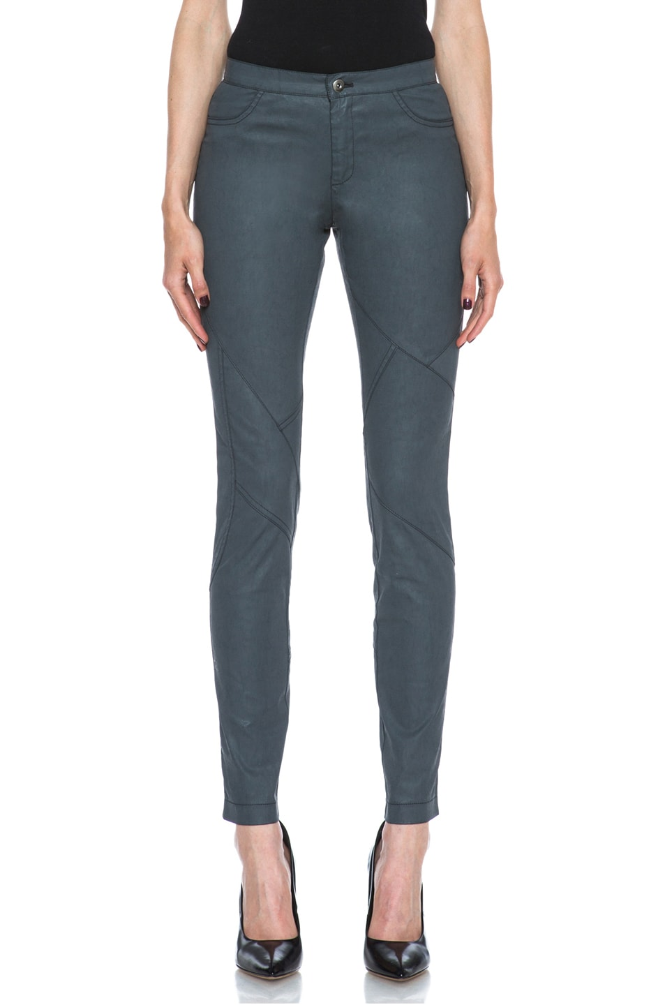 Image 1 of Tess Giberson Coated Cotton Pieced Legging in Charcoal