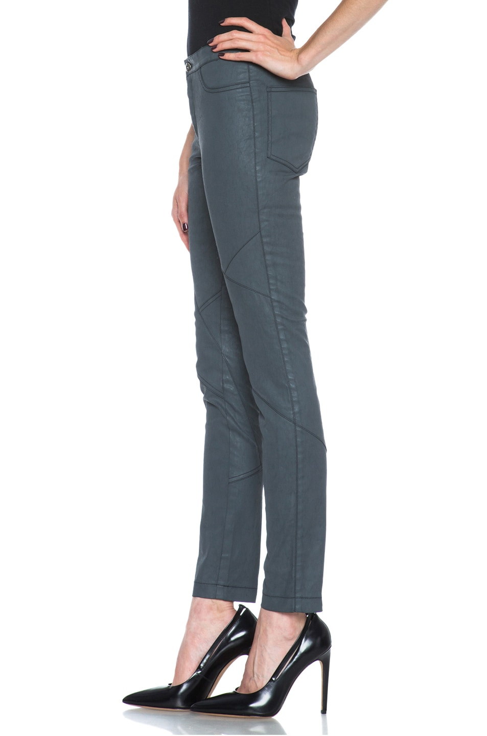 Image 2 of Tess Giberson Coated Cotton Pieced Legging in Charcoal