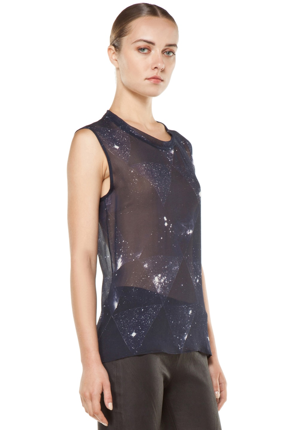 Image 3 of Tess Giberson Star Print Silk Top in Star Print