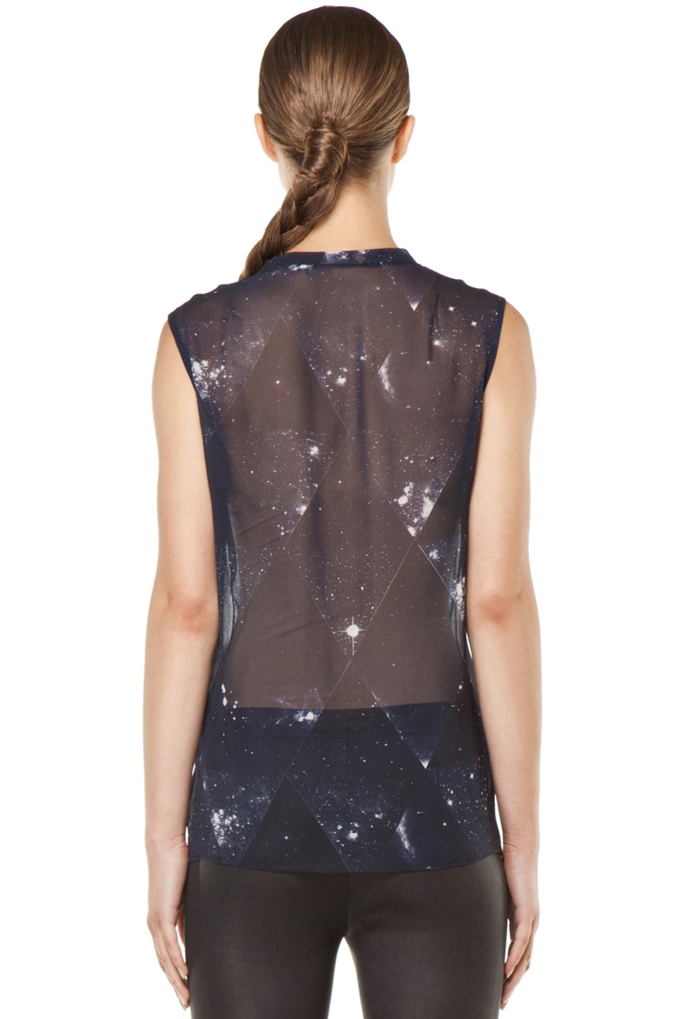 Image 4 of Tess Giberson Star Print Silk Top in Star Print