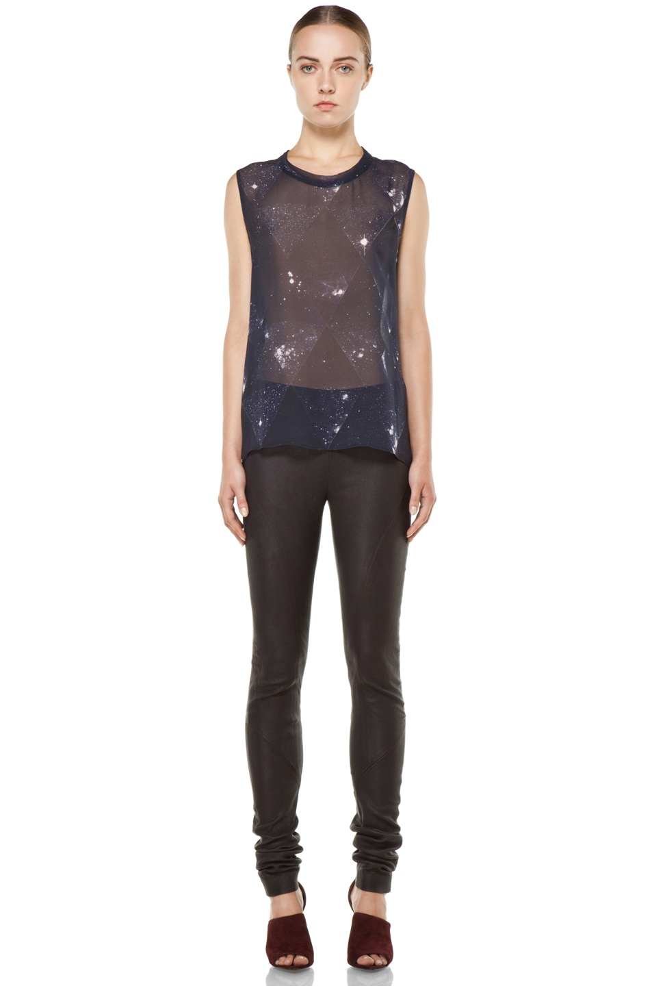 Image 5 of Tess Giberson Star Print Silk Top in Star Print