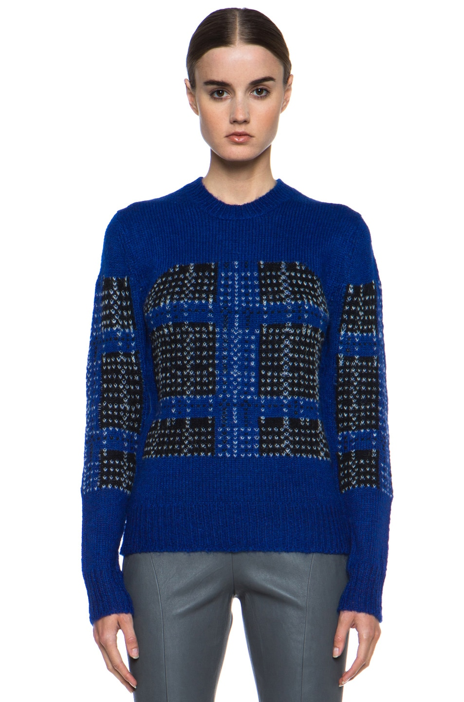 Image 1 of Thakoon Addition Mohair-Blend Pullover in Ultramarine Plaid