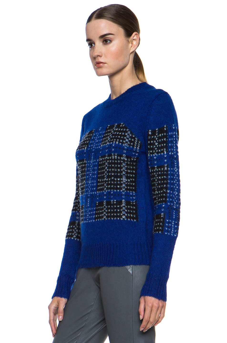 Image 2 of Thakoon Addition Mohair-Blend Pullover in Ultramarine Plaid