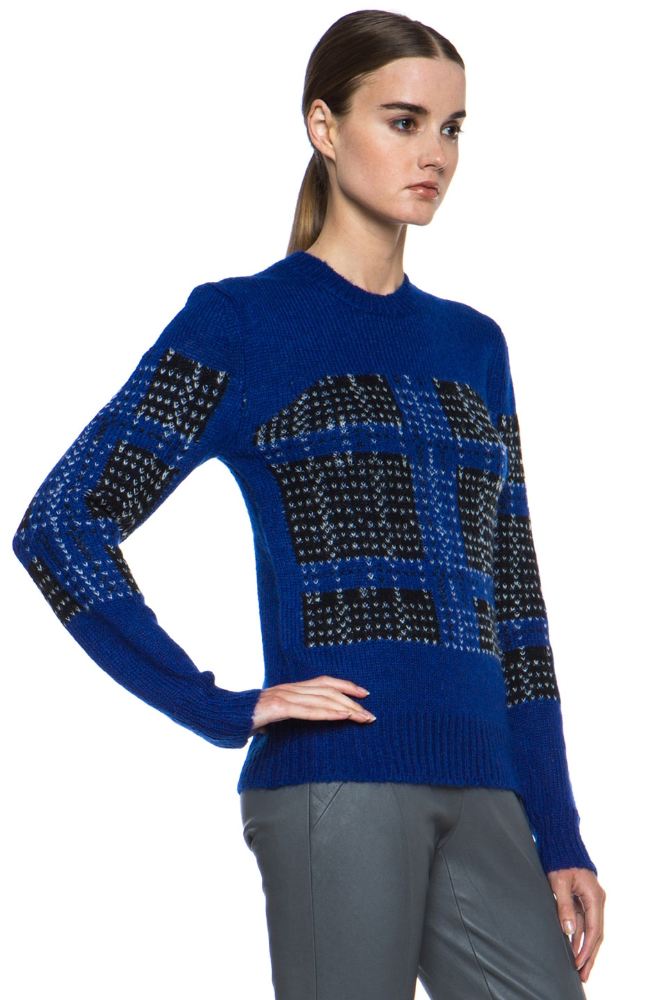 Image 3 of Thakoon Addition Mohair-Blend Pullover in Ultramarine Plaid