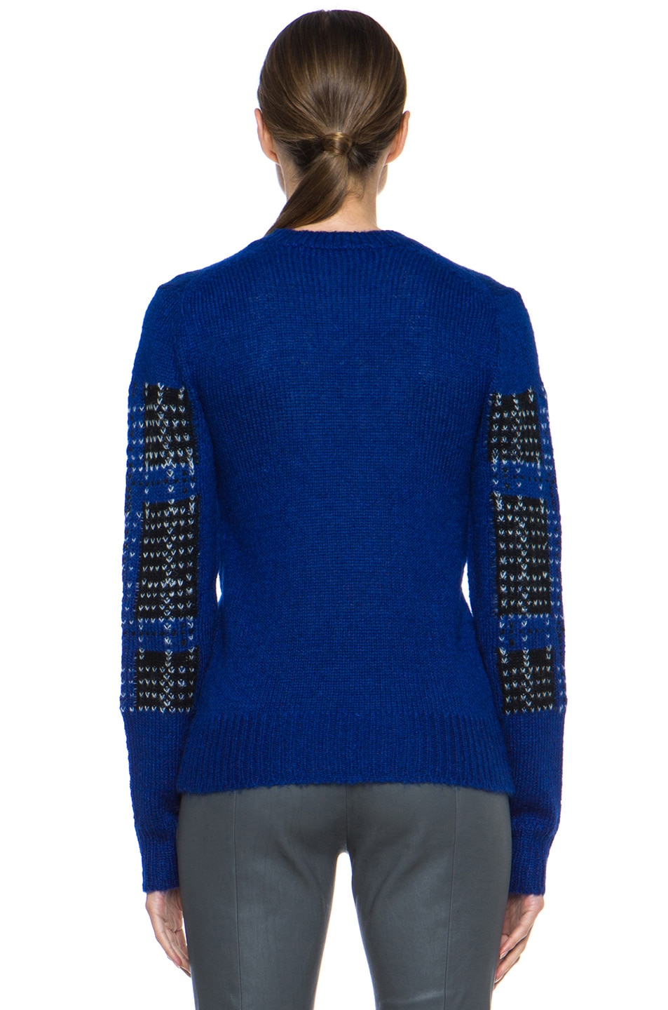 Image 4 of Thakoon Addition Mohair-Blend Pullover in Ultramarine Plaid