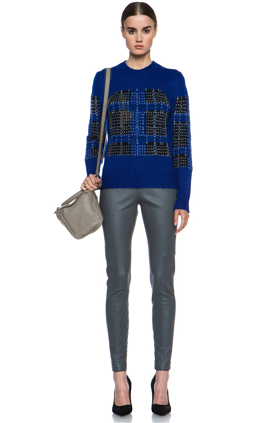 Image 5 of Thakoon Addition Mohair-Blend Pullover in Ultramarine Plaid